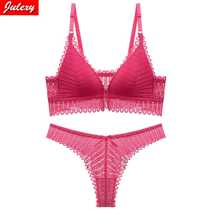 Julexy sexy Wire Free lace women bra set solid Hollow out thong and underwear set ABC Cup push up bra panty set