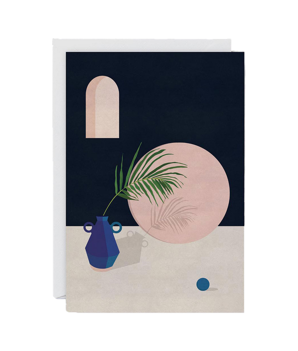 Blue Vase & Leaf Card by Charlotte Taylor