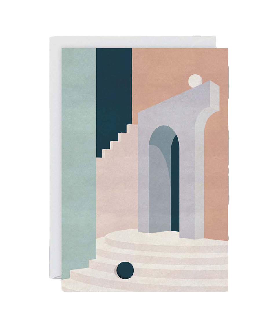 Pastel Doorway & Stairs Card by Charlotte Taylor