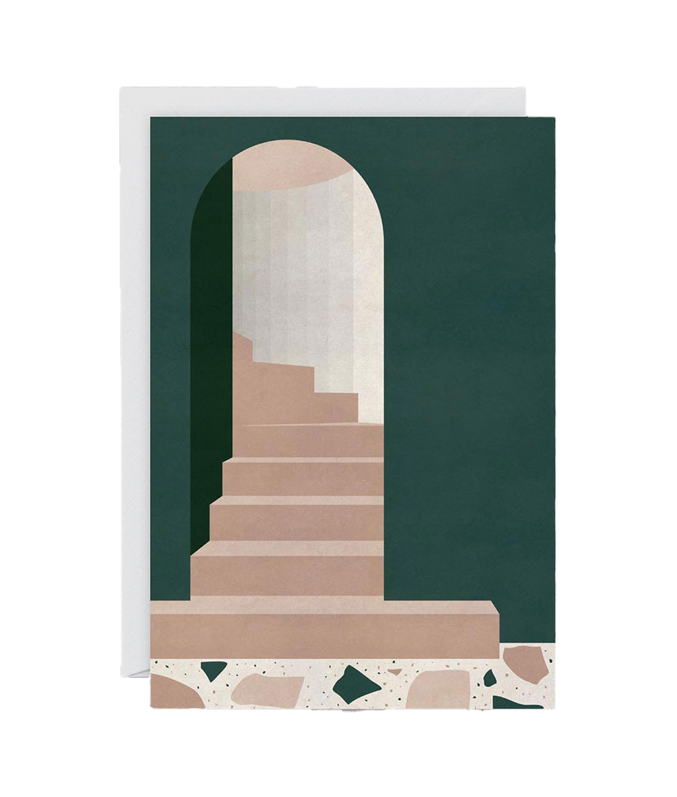 Green Arch with Stairs Card by Charlotte Taylor
