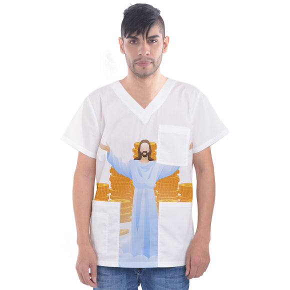 MONEY GOD Men's V-Neck Scrub Top