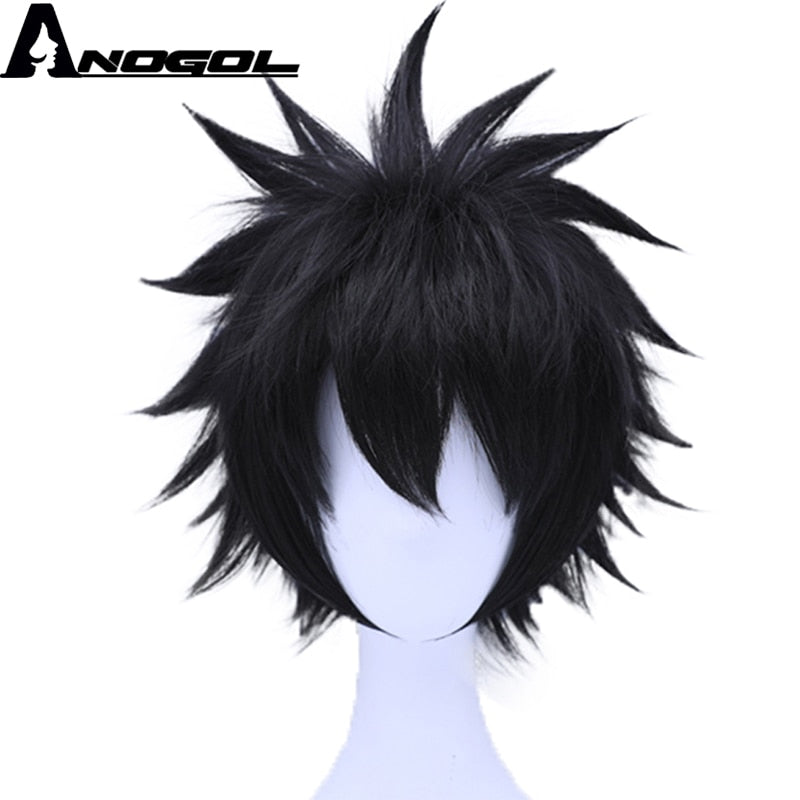 Anogol My Hero Academy dabi High Temperature Fiber Short Straight Black Synthetic Cosplay Wig For Halloween Costume Role Play