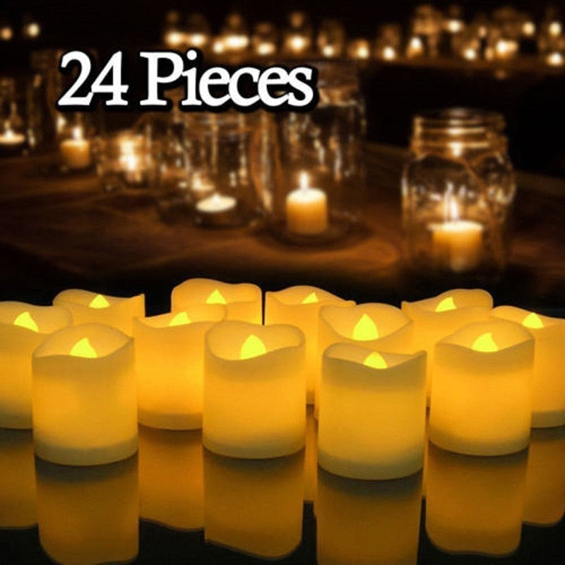 12/24Pcs Flameless LED Candles Tea Light Decoration Lighting