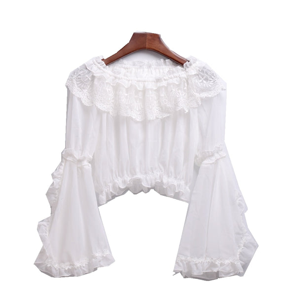 Chiffon Blouse Lolita Sweet Women Off Shoulder Crop Tops Shirt