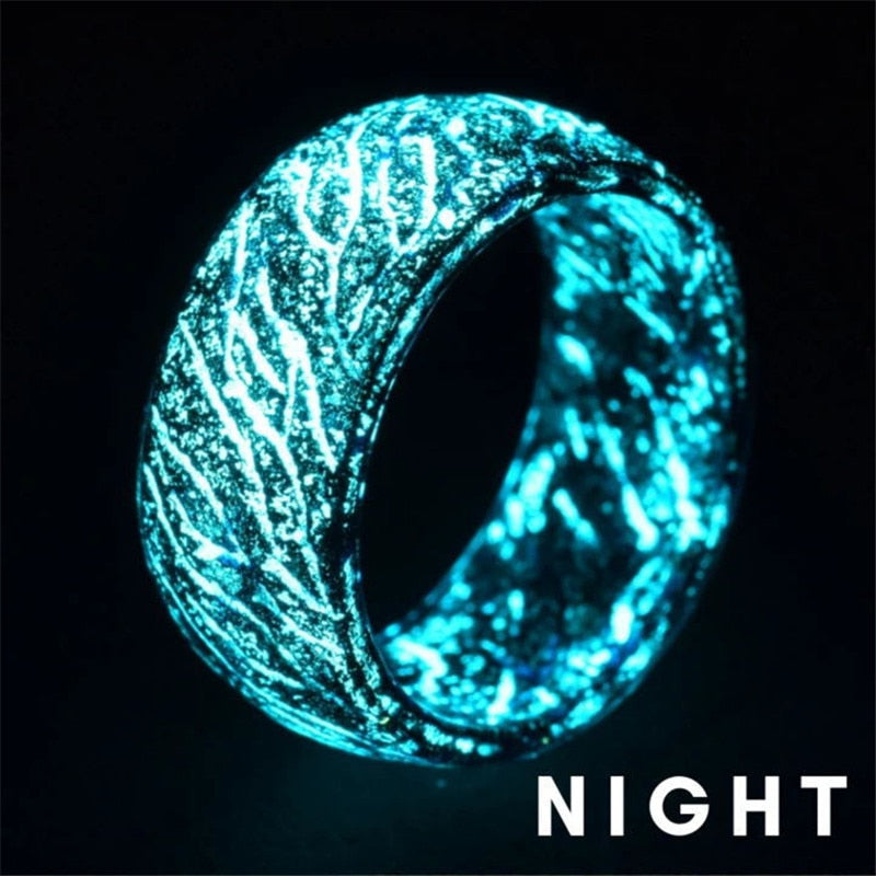 Trendy Luminous Resin Ring Finger Ring Multicolor Rings Romantic Glow IN The Dark Ring For Women Men Jewelry Party Gift