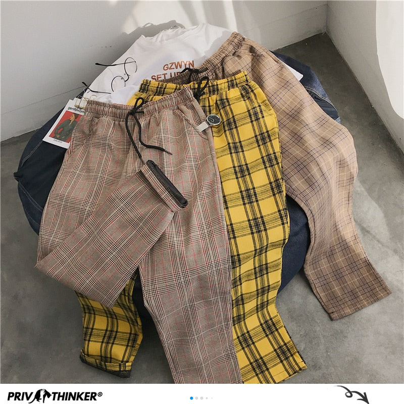 Privathinker Men Women Korean Black Plaid Casual Pants 2020 Mens Streetwear Harem Pants Male Checkered Trousers Plus Size