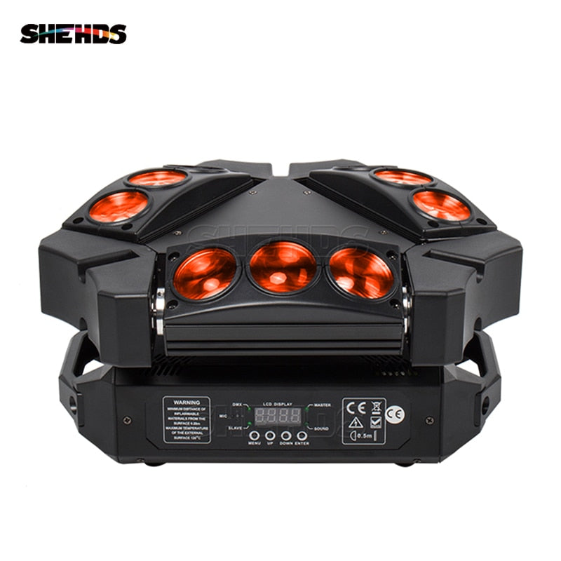 MINI LED 9x10W Spider Light RGBW DMX512 LED Spider Moving Head Beam Light Used In DJ Disco Bar KTV Stage Lighting SHEHDS
