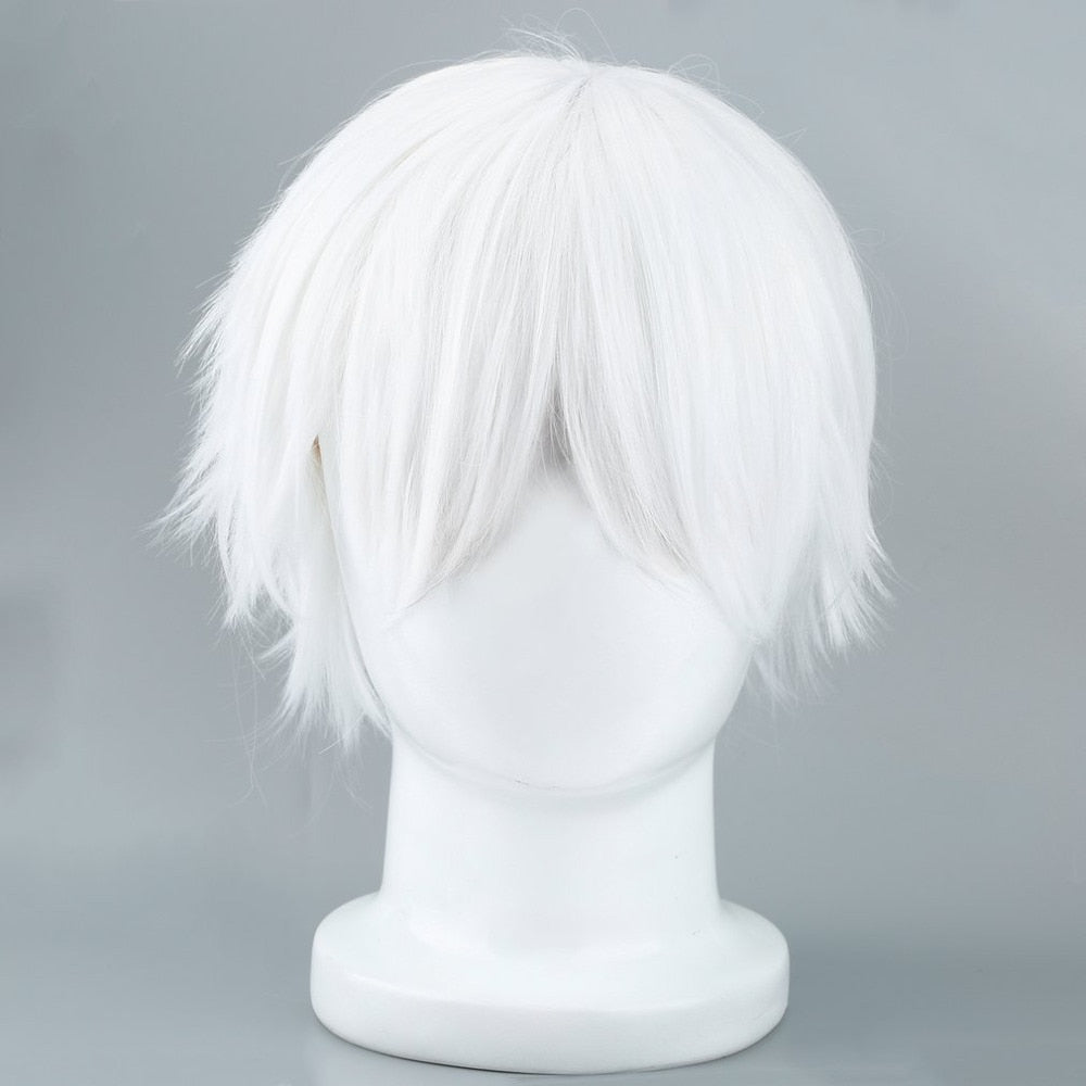 Tokyo wig Ghoul Cosplay Hairs Short Straight Silver Gray Color Silk Synthetic Hair Halloween Masquerade Party Costumes Gintama