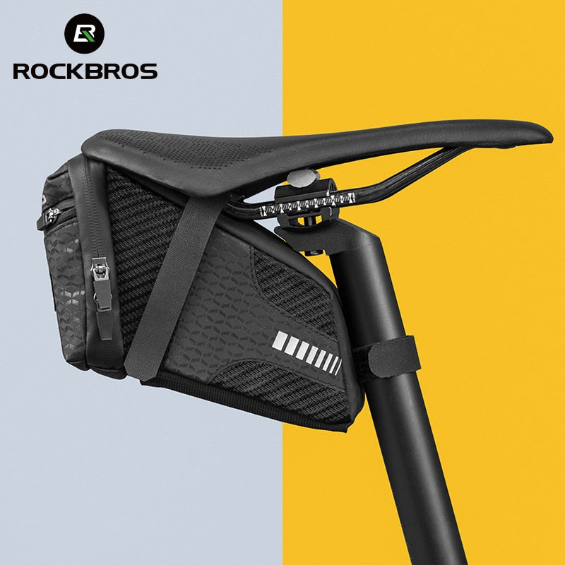 ROCKBROS Bicycle Saddle Bag 3D Shell Rainproof Reflective Shockproof Cycling Bike Tube Rear Tail Seatpost Bag Bike Accessories