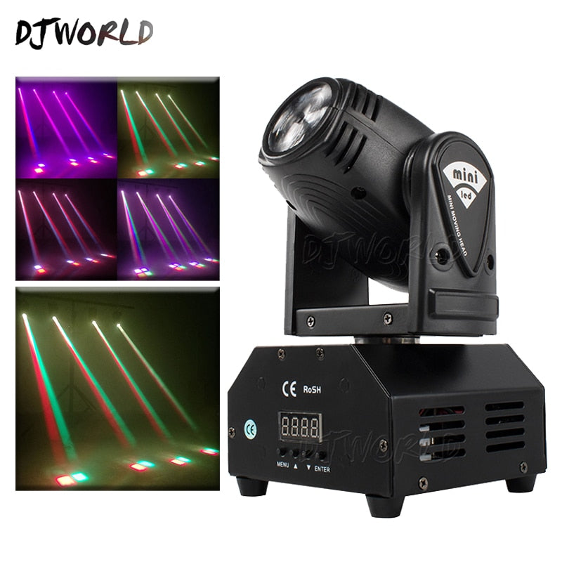 LED Beam 10W RGBW Spot Moving Head Lights DMX Controller For DJ Disco Christmas Party Stage Lighting stroboscopes Effect