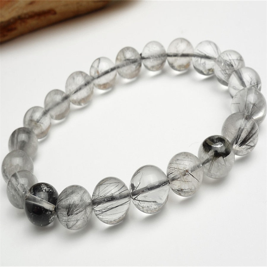 11mm Genuine Natural Rutilated Quartz Crystal Black Hair Fashion Round Bead Jewelry Women Femme Charm Stretch Bracelet