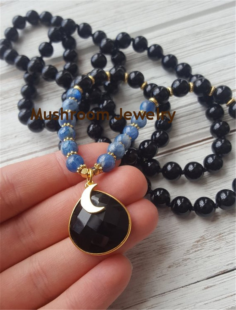 Boho Chic Knot Black obsidian and blue Veins TearDrop Crystal Charm Pendant Necklace