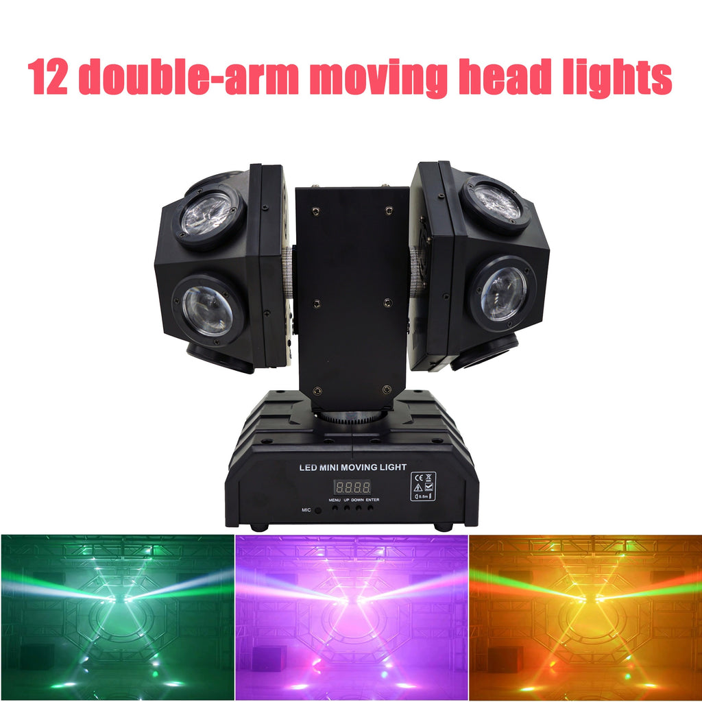 12x10W RGBW 4in1 Beam Light/LED Football Stage Effect Lighting/Double Arms Beam Moving Head Lights Great Show Effect Disco Bar
