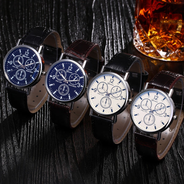 Fashion Faux Leather Mens Analog Quarts Watches