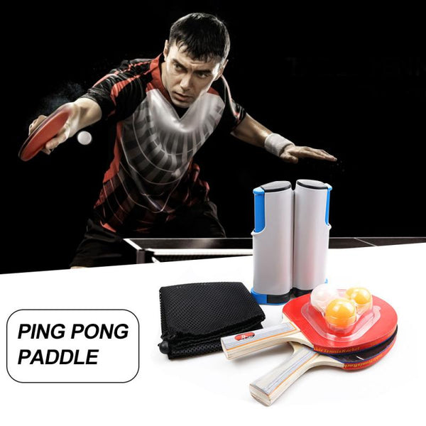 2PCS New Upgraded Table Tennis Racket Set Lightweight Powerful Ping Pong Paddle And Retractable Net With 4PCS Table Tennis
