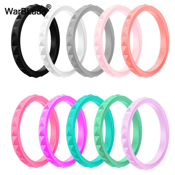 WarBLade New 3mm Thin Stackable Silicone Rings For Women Wedding Rubber Bands Sport Hypoallergenic Flexible Silicone Finger Ring