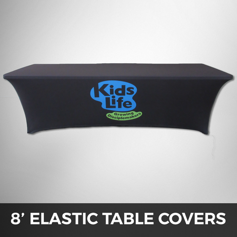8' Stretched Elastic Table Cover - Custom Printed