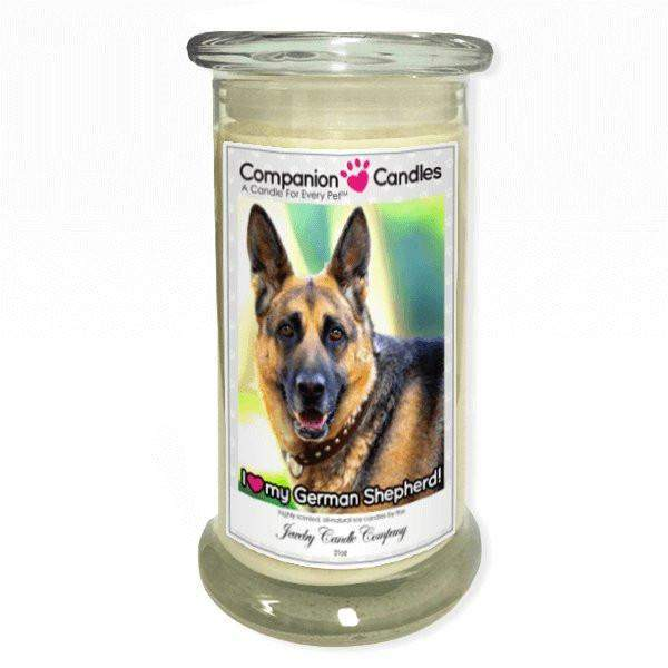 I Love My German Shepherd! - Pet Photo Companion Candles - Pet Lover Gifts-Companion Candles-The Official Website of Jewelry Candles - Find Jewelry In Candles!