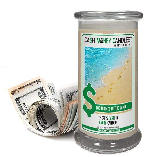 Footprints in the Sand Cash Money Candles-Cash Money Candles-The Official Website of Jewelry Candles - Find Jewelry In Candles!