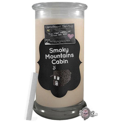 Smoky Mountains Cabin | Chalkboard Candle-Chalkboard Jewelry Candles-The Official Website of Jewelry Candles - Find Jewelry In Candles!