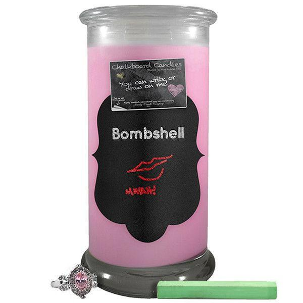 Bombshell Chalkboard Candle-Chalkboard Jewelry Candles-The Official Website of Jewelry Candles - Find Jewelry In Candles!