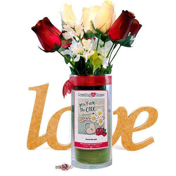 You are the one! Greeting Roses-Wax Dipped Roses-The Official Website of Jewelry Candles - Find Jewelry In Candles!