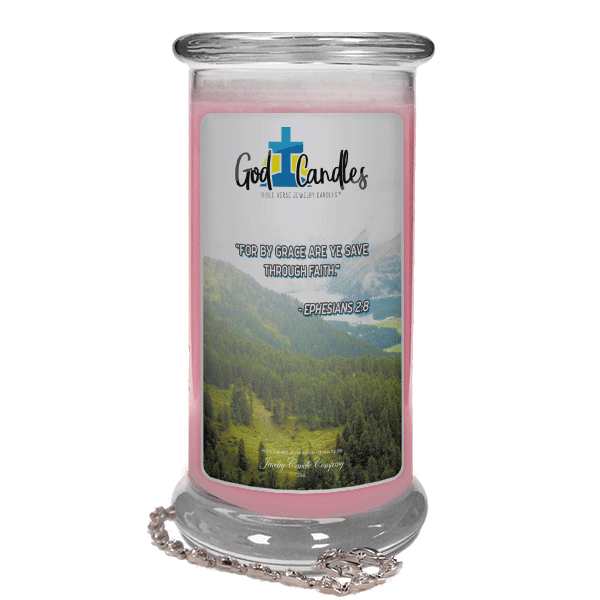 Ephesians 2:8 Verse God Candle - Jewelry Candles | A Hidden Jewel Inside Every Candle™