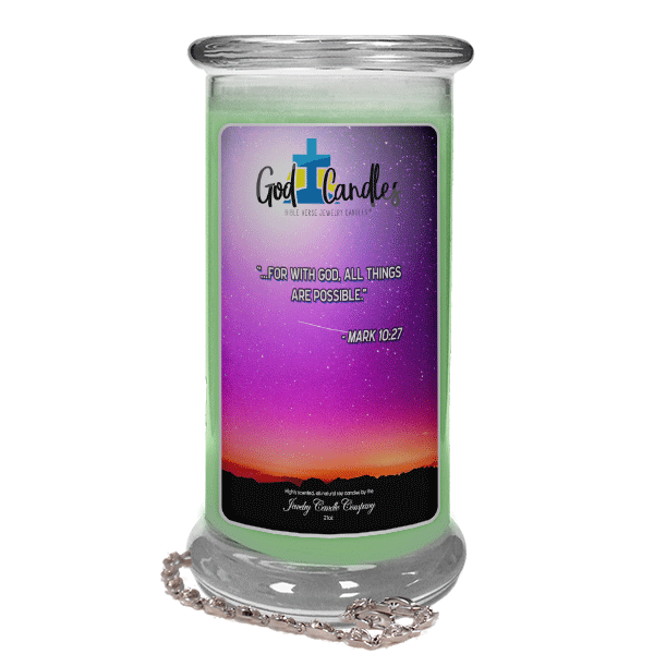 Mark 10:27 Verse God Candle - Jewelry Candles | A Hidden Jewel Inside Every Candle™