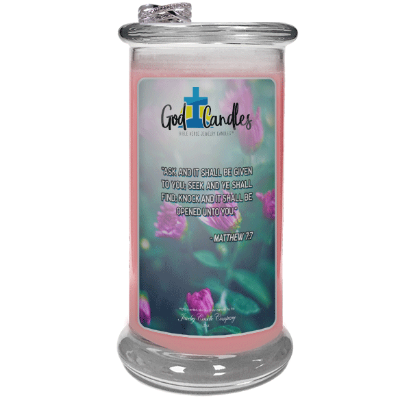 Matthew 7:7 Verse God Candle - Jewelry Candles | A Hidden Jewel Inside Every Candle™