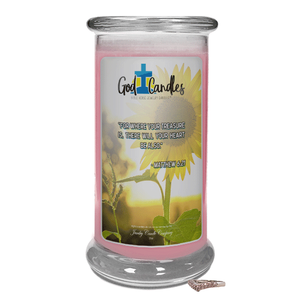 Matthew 6:21 Verse God Candle - Jewelry Candles | A Hidden Jewel Inside Every Candle™