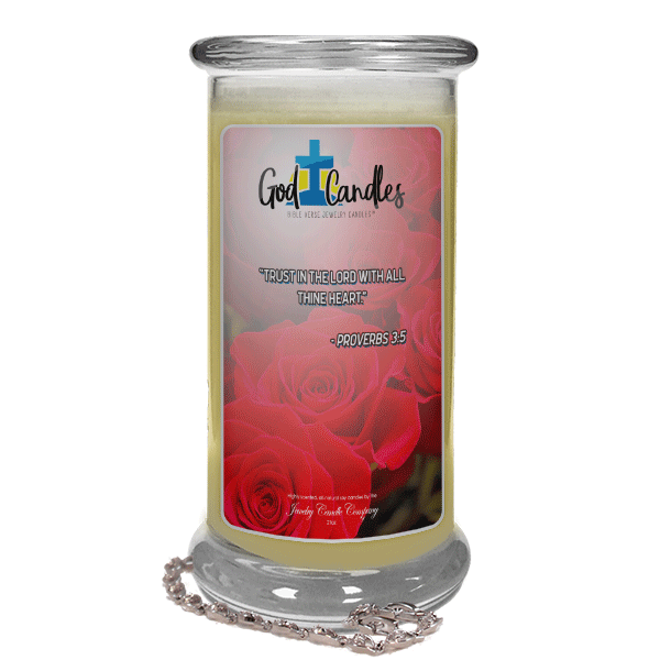 Proverbs 3:5 Verse God Candle - Jewelry Candles | A Hidden Jewel Inside Every Candle™