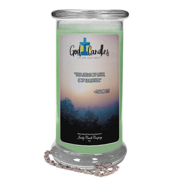 Psalm 27:1 Verse God Candle - Jewelry Candles | A Hidden Jewel Inside Every Candle™