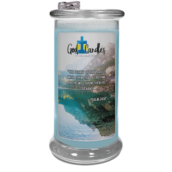 Psalm 24:14 Verse God Candle - Jewelry Candles | A Hidden Jewel Inside Every Candle™