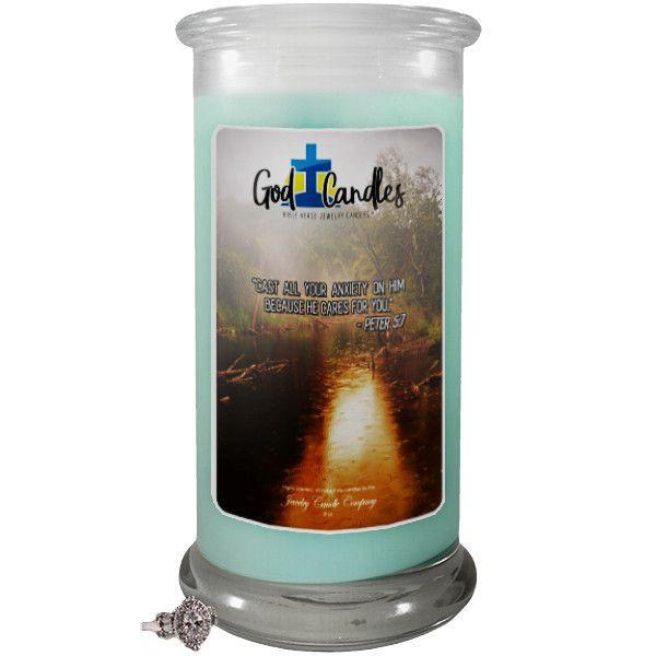 Peter 5:7 Verse God Candle-God Candle | Bible Verse Jewelry Candles™-The Official Website of Jewelry Candles - Find Jewelry In Candles!