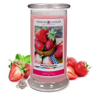 Freshly Picked Strawberries | Jewelry Candle®-Freshly Picked Strawberries-The Official Website of Jewelry Candles - Find Jewelry In Candles!