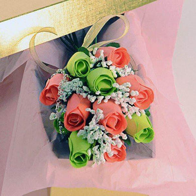 Coral & Green Wax Dipped Roses Bouquet-Scented Green and Coral Bouquet Wax Roses-The Official Website of Jewelry Candles - Find Jewelry In Candles!