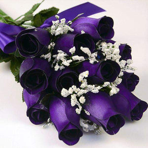 Deep Purple Wax Dipped Roses Bouquet-Wax Dipped Roses-The Official Website of Jewelry Candles - Find Jewelry In Candles!