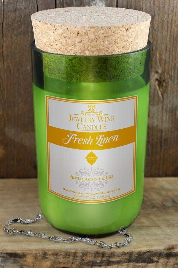 Fresh Linen Jewelry Wine Candle-Jewelry Wine Candles-The Official Website of Jewelry Candles - Find Jewelry In Candles!