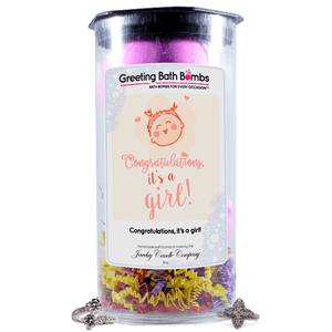 Congratulations, It's A Girl! | Greeting Bath Bombs®-Jewelry Bath Bombs-The Official Website of Jewelry Candles - Find Jewelry In Candles!
