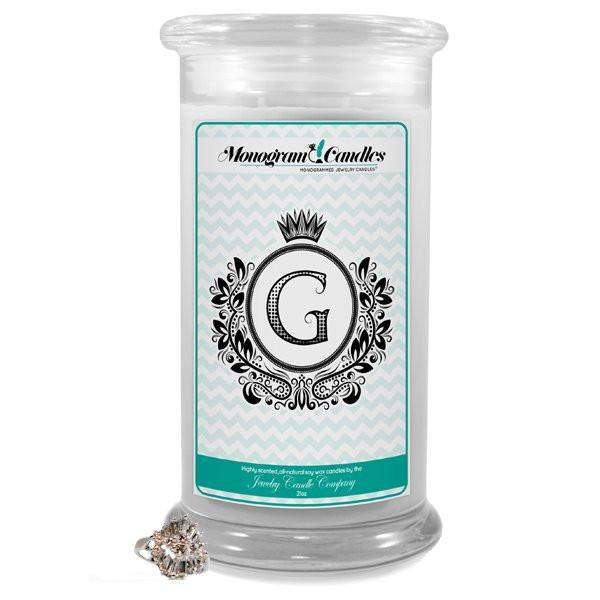 Letter G Monogram Candles-Monogram Candles-The Official Website of Jewelry Candles - Find Jewelry In Candles!