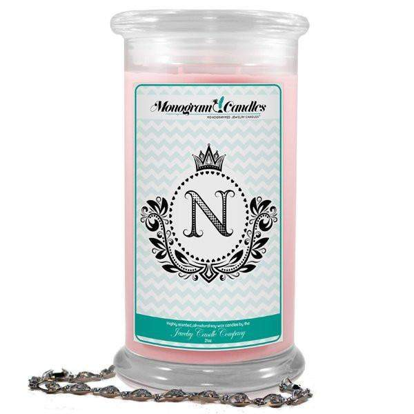 Letter N Monogram Candles-Monogram Candles-The Official Website of Jewelry Candles - Find Jewelry In Candles!