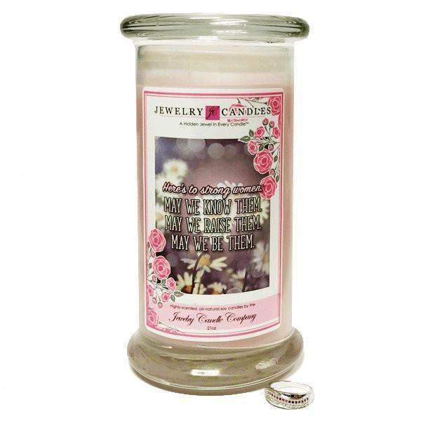 Here's To Strong Women | Jewelry Greeting Candles-Here's To Strong Women Jewelry Greeting Candle-The Official Website of Jewelry Candles - Find Jewelry In Candles!