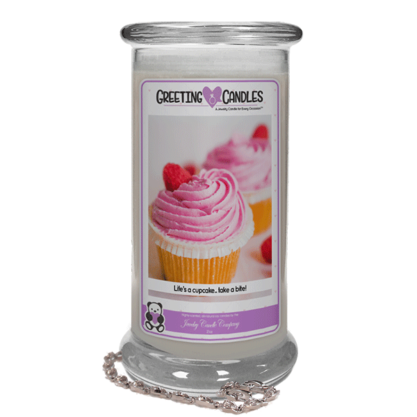 Life's A Cupcake.. Take A Bite! | Jewelry Greeting Candles-Life's A Cupcake, Take A Bite! Jewelry Greeting Candle-The Official Website of Jewelry Candles - Find Jewelry In Candles!