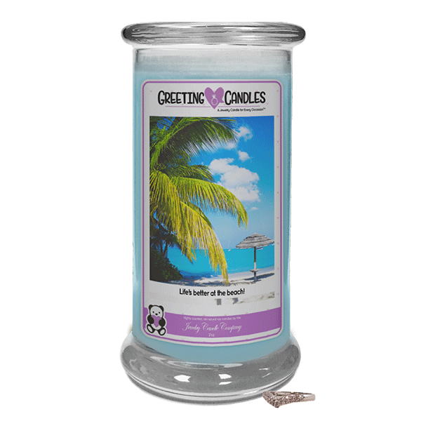 Life's Better At The Beach | Jewelry Greeting Candle - Jewelry Candles | A Hidden Jewel Inside Every Candle™