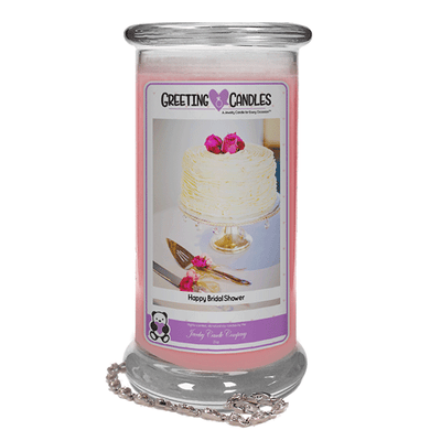 Happy Bridal Shower | Jewelry Greeting Candle-Happy Bridal Shower Jewelry Greeting Candle-The Official Website of Jewelry Candles - Find Jewelry In Candles!