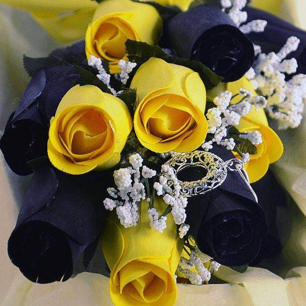 Bumblebee Half Dozen Wax Dipped Roses-Create Your Own Dozen Roses-The Official Website of Jewelry Candles - Find Jewelry In Candles!