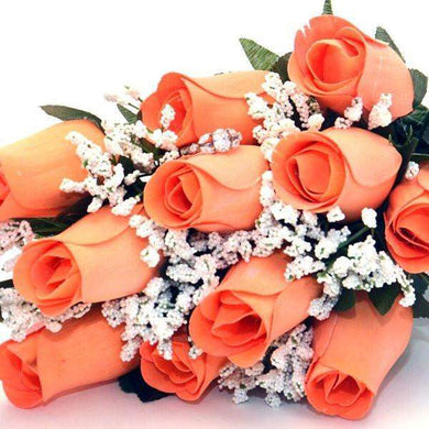 Peach Half Dozen Wax Dipped Roses-Create Your Own Dozen Roses-The Official Website of Jewelry Candles - Find Jewelry In Candles!