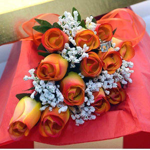 Yellow With Orange Ombre Tips Half Dozen Wax Dipped Roses-Create Your Own Dozen Roses-The Official Website of Jewelry Candles - Find Jewelry In Candles!