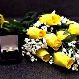 Yellow Half Dozen Wax Dipped Roses-Create Your Own Dozen Roses-The Official Website of Jewelry Candles - Find Jewelry In Candles!