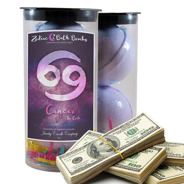Cancer Zodiac Cash Bath Bombs-Zodiac Cash Bath Bombs-The Official Website of Jewelry Candles - Find Jewelry In Candles!